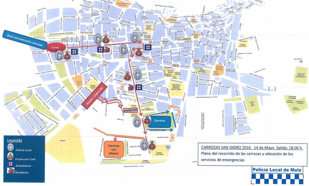 Plano de recorrido del Desfile de Carrozas San Isidro 2016