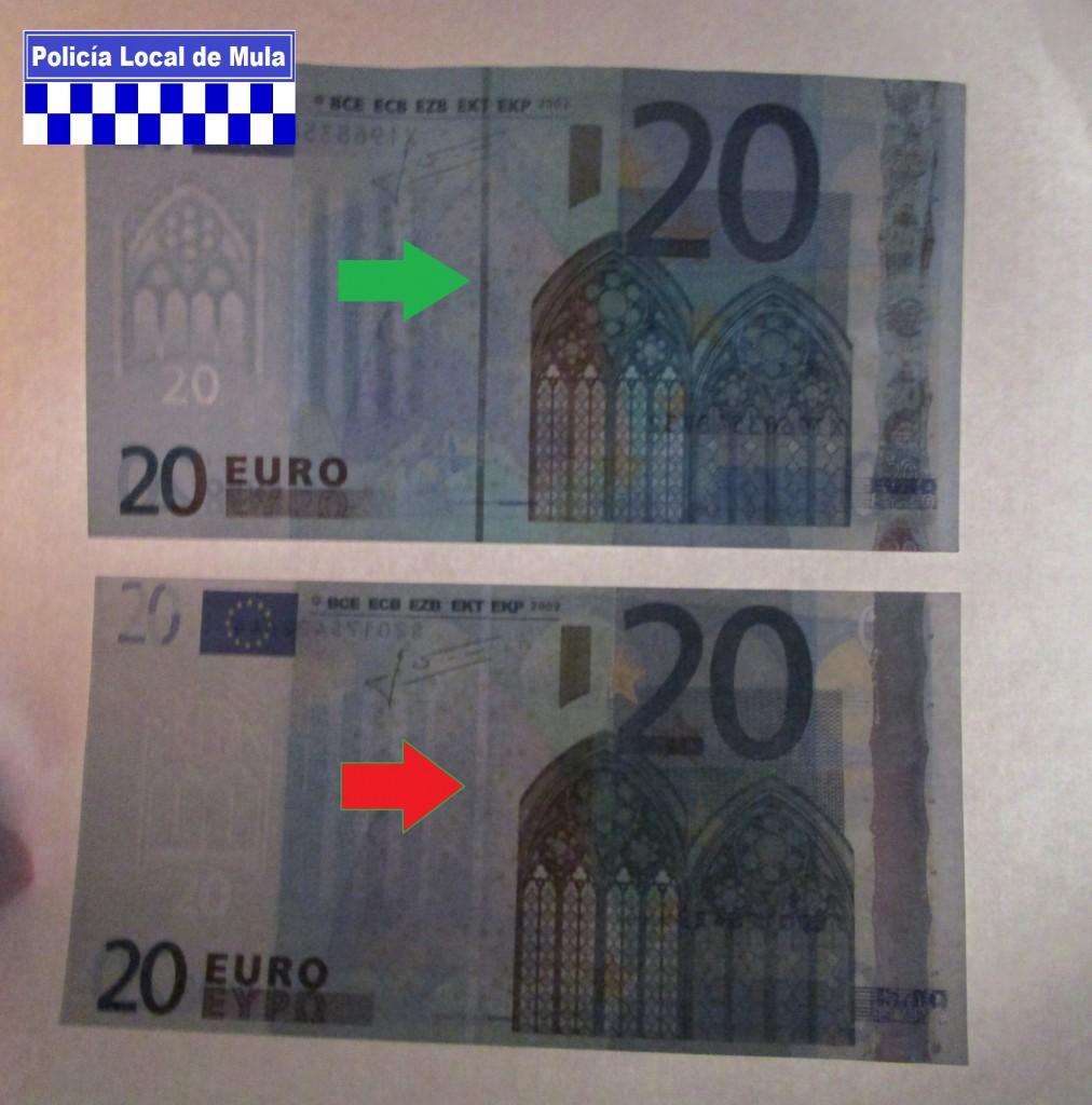 Detalle del billete falso (abajo) que carece de Hilo de Seguridad_